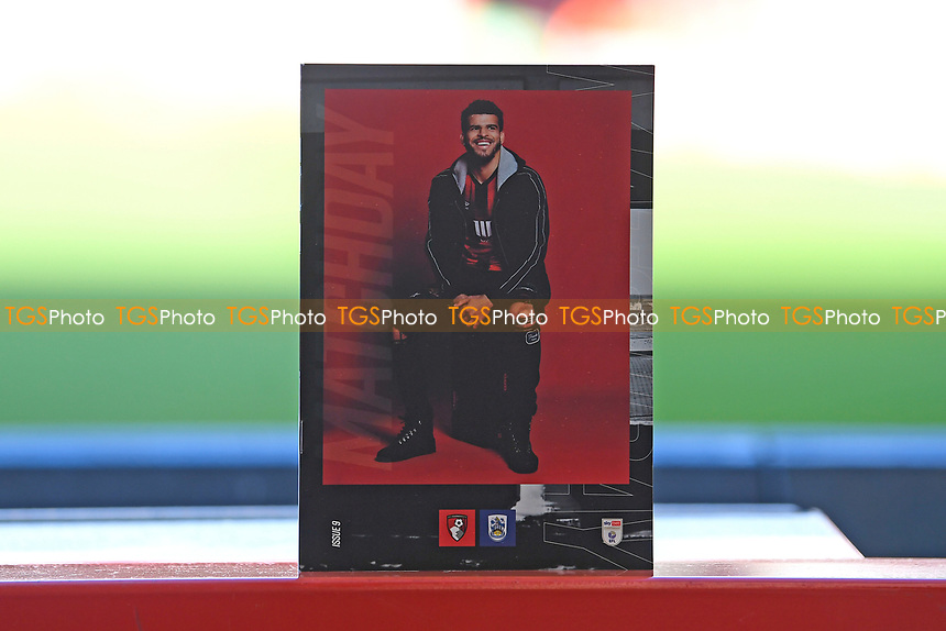 Dominic Solanke of AFC Bournemouth on the front of the match day programme during AFC Bournemouth vs Huddersfield Town, Sky Bet EFL Championship Football at the Vitality Stadium on 12th December 2020