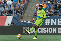FOXBOROUGH, MA - SEPTEMBER 29: Sean Johnson #1 of New York City FC passes the ball during a game between New York City FC and New England Revolution at Gillette Stadium on September 29, 2019 in Foxborough, Massachusetts.