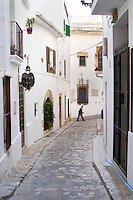 Narrow winding streets with old houses. Museu del Cau Ferrat museum. Sitges, Catalonia, Spain