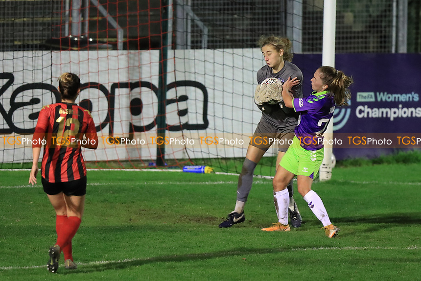 Laura Hartley of Lewes collects the ball under pressure from Jemma Purfield of Bristol City during Lewes Women vs Bristol City Women, FA Women's Continental League Cup Football at The Dripping Pan on 18th November 2020