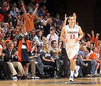 Feb. 16, 2011; Charlottesville, VA, USA; Virginia Cavaliers guard Sammy Zeglinski (13) reacts after sinking a three point basket during the first half of the game against the Duke Blue Devils at the John Paul Jones Arena.  Credit Image: © Andrew Shurtleff