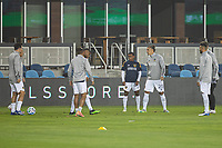 SAN JOSE, CA - SEPTEMBER 13: L.A Galaxy during warm ups during a game between Los Angeles Galaxy and San Jose Earthquakes at Earthquakes Stadium on September 13, 2020 in San Jose, California.