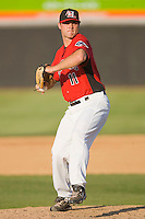 Relief pitcher Braden Tullis #11 of the Hickory Crawdads in action against the Rome Braves at  L.P. Frans Stadium May 23, 2010, in Hickory, North Carolina.  The Rome Braves defeated the Hickory Crawdads 5-1.  Photo by Brian Westerholt / Four Seam Images