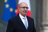 HARLEM DESIR SECRETAIRE D'ETAT CHARGE DES AFFAIRES EUROPEENNES QUITTE LE PALAIS DE L'ELYSEE APRES LE CONSEIL DES MINISTRES DU 11 JANVIER 2017 A PARIS.