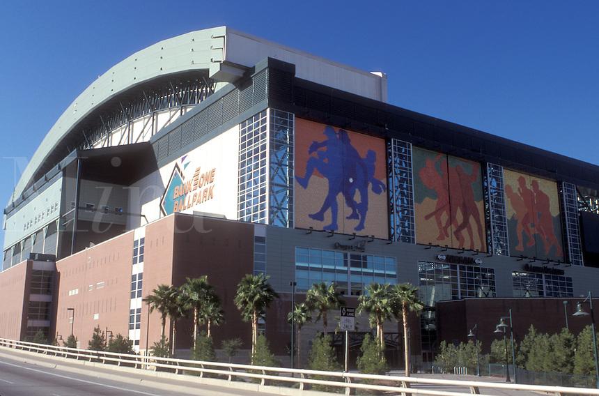 baseball stadium, Phoenix, Arizona, AZ, Bank One Ballpark home of Arizona Diamondbacks in downtown Phoenix.