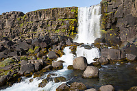 Öxarárfoss, Öxararfoss, Wasserfall im Westen von Island, er speist sich aus dem Wasser der Öxará, Öxara. Þingvellir, Pingvellir, Thingvellir, Þingvellir-Nationalpark, Pingvellir-Nationalpark. Öxarárfoss is a waterfall in Þingvellir National Park, Iceland