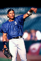 David Segui of the Seattle Mariners plays in a baseball game at Edison International Field during the 1998 season in Anaheim, California. (Larry Goren/Four Seam Images)
