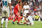 Real Madrid's Keylor Navas and Daniel Carvajal during La Liga match between Real Madrid and Valencia CF at Santiago Bernabeu Stadium in Madrid, Spain August 27, 2017. (ALTERPHOTOS/Borja B.Hojas)