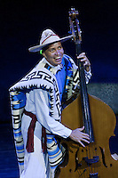 "Base Violin Player in Performance of ""Mexico Espectacular"", Xcaret, Playa del Carmen, Riviera Maya, Yucatan, Mexico."