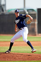 San Diego Padres minor league pitcher Cam Stewart #25 during an instructional league game against the Seattle Mariners at the Peoria Sports Complex on October 6, 2012 in Peoria, Arizona.  (Mike Janes/Four Seam Images)