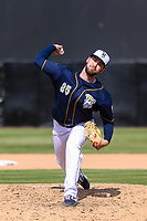 Wisconsin Timber Rattlers pitcher Justin Bullock (25) delivers a pitch during a Midwest League game against the Burlington Bees on April 28, 2019 at Fox Cities Stadium in Appleton, Wisconsin. Wisconsin defeated Burlington 5-4. (Brad Krause/Four Seam Images)
