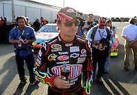 Feb 20, 2009; Fontana, CA, USA; NASCAR Sprint Cup Series driver Jeff Gordon during qualifying for the Auto Club 500 at Auto Club Speedway. Mandatory Credit: Mark J. Rebilas-