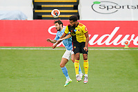 Bernardo Silva of Man City and Adrian Mariappa of Watford during the Premier League match between Watford and Manchester City at Vicarage Road, Watford, England on 21 July 2020. Football Stadiums around remain empty due to the Covid-19 Pandemic as Government social distancing laws prohibit supporters inside venues resulting in all fixtures being played behind closed doors until further notice.<br /> Photo by Andy Rowland.