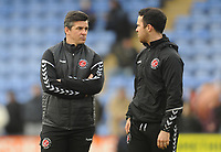 Fleetwood Town manager Joey Barton (left) with Sports Scientist  James Barrow during the pre-match warm-up <br /> <br /> Photographer Kevin Barnes/CameraSport<br /> <br /> The EFL Sky Bet League One - Shrewsbury Town v Fleetwood Town - Tuesday 1st January 2019 - New Meadow - Shrewsbury<br /> <br /> World Copyright © 2019 CameraSport. All rights reserved. 43 Linden Ave. Countesthorpe. Leicester. England. LE8 5PG - Tel: +44 (0) 116 277 4147 - admin@camerasport.com - www.camerasport.com