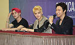 JYJ, Aug 03, 2014 : South Korean boy band JYJ's Junsu, JaeJoong,Yuchun (L-R) attend a news conference after a showcase for their new second regular album, 'JUST US', in Seoul, South Korea.  (Photo by Lee Jae-Won/AFLO) (SOUTH KOREA)