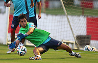 Bryan Ruiz of Costa Rica plays in goal during the training session ahead of tomorrow's match vs Greece