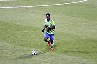 COLUMBUS, OH - DECEMBER 12: Yeimar Gomez Andrade #28 of the Seattle Sounders FC plays the ball during a game between Seattle Sounders FC and Columbus Crew at MAPFRE Stadium on December 12, 2020 in Columbus, Ohio.