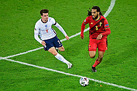 15th November 2020; Leuven, Belgium;  Jason Denayer defender of Belgium battles for the ball with Mason Mount midfielder of England during the UEFA Nations League match group stage final tournament - League A - Group 2 between Belgium and England