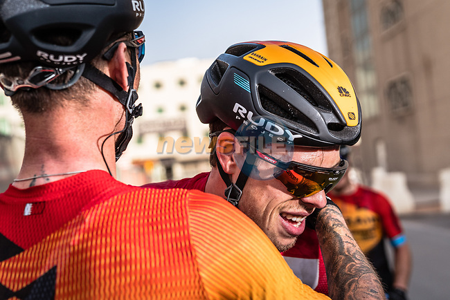 Phil Bauhaus (GER) Bahrain-Mclaren wins the stage and the overall general classification at the end of Stage 5 of the Saudi Tour 2020 running 144km from Princess Nourah University to Al Masmak, Saudi Arabia. 8th February 2020. <br /> Picture: ASO/Kåre Dehlie Thorstad | Cyclefile<br /> All photos usage must carry mandatory copyright credit (© Cyclefile | ASO/Kåre Dehlie Thorstad)