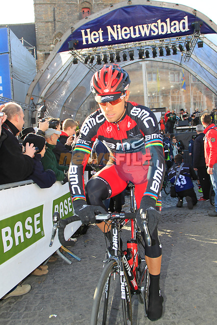 Thor Hushovd (NOR) BMC Racing Team arrives at sign on before the start of the 96th edition of The Tour of Flanders 2012 in Bruges Market Square, running 256.9km from Bruges to Oudenaarde, Belgium. 1st April 2012. <br /> (Photo by Eoin Clarke/NEWSFILE).
