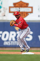 Harrisburg Senators shortstop Wilmer Difo (18) throws to first during a game against the Erie Seawolves on August 30, 2015 at Jerry Uht Park in Erie, Pennsylvania.  Harrisburg defeated Erie 4-3.  (Mike Janes/Four Seam Images)