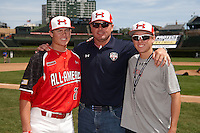 Pitcher/First Baseman Kacy Clemens #21 of Memorial High School in Texas poses for a photo with his father Roger Clemens and brother Kody Clemens before participating in the Under Armour All-American Game powered by Baseball Factory at Wrigley Field on August 18, 2012 in Chicago, Illinois.  (Mike Janes/Four Seam Images)