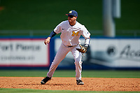 Michigan Wolverines first baseman Hector Gutierrez (24) during a game against Army West Point on February 18, 2018 at Tradition Field in St. Lucie, Florida.  Michigan defeated Army 7-3.  (Mike Janes/Four Seam Images)