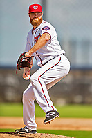 22 February 2019: Washington Nationals pitcher Aaron Barrett on the mound during a Spring Training workout at the Ballpark of the Palm Beaches in West Palm Beach, Florida. Mandatory Credit: Ed Wolfstein Photo *** RAW (NEF) Image File Available ***