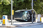 © Joel Goodman - 07973 332324 . 16/07/2017 . Manchester , UK . The Independent Police Complaints Commission have been informed following a road traffic accident near Stockport . Reports say a car struck two elderly people on the A6 Buxton Road in Heaviley at the junction with Kennerley Road and that two young males were detained by members of the public and police as they tried to make off from the scene . An undamaged silver BMW and a badly damaged dark grey Renault Clio were towed from the scene and surrounding roads have been closed to traffic as an investigation is carried out . Photo credit : Joel Goodman