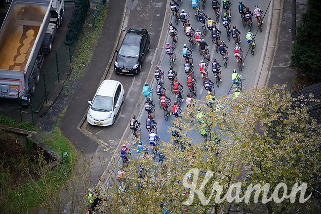 birds view of the peloton early in the race<br /> <br /> 101th Liège-Bastogne-Liège 2015