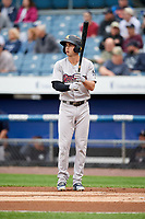 Scranton/Wilkes-Barre RailRiders shortstop Tyler Wade (23) at bat during a game against the Syracuse Chiefs on June 14, 2018 at NBT Bank Stadium in Syracuse, New York.  Scranton/Wilkes-Barre defeated Syracuse 9-5.  (Mike Janes/Four Seam Images)