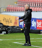 Blackpool manager Neil Critchley reacts in his technical area<br /> <br /> Photographer Rich Linley/CameraSport<br /> <br /> The EFL Sky Bet League One - Crewe Alexandra v Blackpool - Saturday 17th October 2020 - Gresty Road - Crewe<br /> <br /> World Copyright © 2020 CameraSport. All rights reserved. 43 Linden Ave. Countesthorpe. Leicester. England. LE8 5PG - Tel: +44 (0) 116 277 4147 - admin@camerasport.com - www.camerasport.com