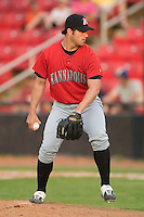 Kannapolis relief pitcher Brian Omogrosso winds up to deliver the ball to the plate versus Hickory at L.P. Frans Stadium in Hickory, NC, Thursday, June 29, 2006.  Omogrosso was selected by the White Sox in the 6th round of the 2006 Amateur Draft.