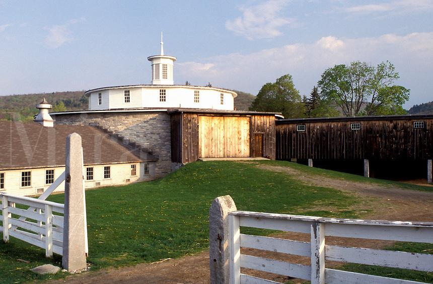 round barn, shakers, Shaker Museum, Pittsfield, Massachusetts, The Berkshires, Round Stone Barn at the Hancock Shaker Village in Pittsfield, Massachusetts in the spring.