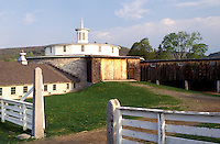 round barn, shakers, Shaker Museum, Pittsfield, Massachusetts, The Berkshires, Round Stone Barn at the Hancock Shaker Village in Pittsfield, Massachusetts in the spring.