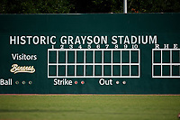 General view of the Grayson Stadium scoreboard, home of the Coastal Plain League Savannah Bananas, before a game against the Macon Bacon on July 15, 2020 in Savannah, Georgia.  (Mike Janes/Four Seam Images)