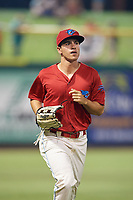 Clearwater Threshers left fielder Adam Haseley (17) jogs off the field during a game against the Dunedin Blue Jays on April 6, 2018 at Spectrum Field in Clearwater, Florida.  Clearwater defeated Dunedin 8-0.  (Mike Janes/Four Seam Images)