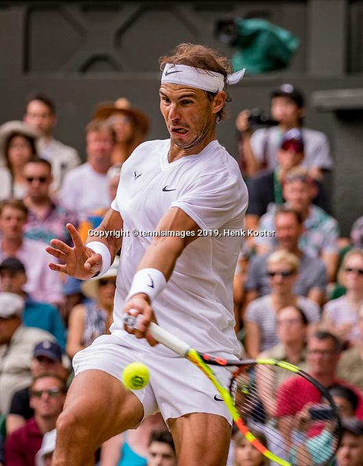 London, England, 8 July, 2019, Tennis,  Wimbledon, Men's singles: Rafael Nadal (ESP)<br /> Photo: Henk Koster/tennisimages.com