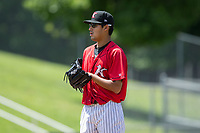 Kannapolis Intimidators starting pitcher Bernardo Flores (32) looks to his catcher for the sign against the Asheville Tourists at Kannapolis Intimidators Stadium on May 7, 2017 in Kannapolis, North Carolina.  The Tourists defeated the Intimidators 4-1.  (Brian Westerholt/Four Seam Images)