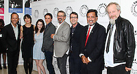BEVERLY HILLS, CA, USA - JULY 09: John Benjamin Hickey, Olivia Williams, Rachel Brosnahan, Ashley Zukerman, Thomas Schlamme, Sam Shaw, Bill Richardson, Daniel Stern at The Paley Center For Media's An Evening With WGN America's 'Manhattan' held at The Paley Center for Media on July 9, 2014 in Beverly Hills, California, United States. (Photo by Xavier Collin/Celebrity Monitor)