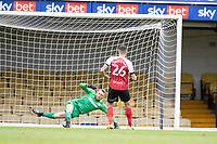 Liam Sercombe, Cheltenham Town scores the opening goal as his penalty evades Mark Oxley, Southend United during Southend United vs Cheltenham Town, Sky Bet EFL League 2 Football at Roots Hall on 17th October 2020