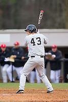 Grant Shambley (43) of the Wake Forest Demon Deacons at bat against the Davidson Wildcats at Wilson Field on March 19, 2014 in Davidson, North Carolina.  The Wildcats defeated the Demon Deacons 7-6.  (Brian Westerholt/Four Seam Images)