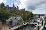 Rideau Canal World Heritage Site, Ottawa, Ontario, Canada with Parliament Buildings in backgroiund