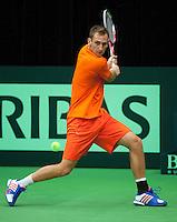 07-02-12, Netherlands,Tennis, Den Bosch, Daviscup Netherlands-Finland, Training, Thiemo de Bakker