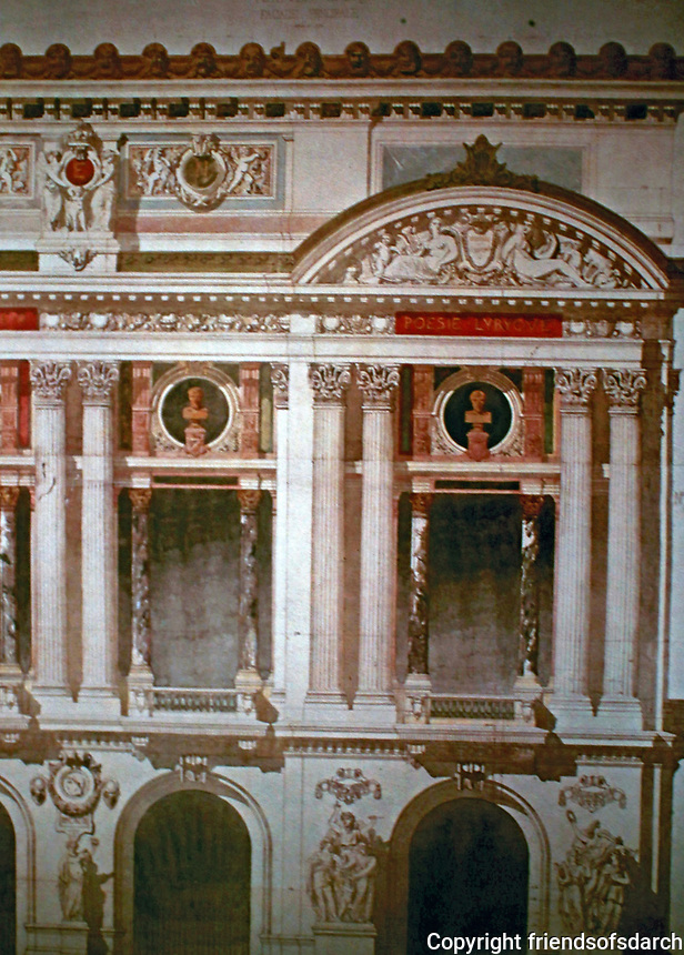 Detail of Palais Garnier Opera House,designed by Charles Garnier. <br /> Paris, France.