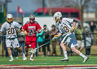 18 April 2015:  University of Vermont Catamount Defender Ben Cox, a Sophomore from Medfield, MA, in action against the University of Hartford Hawks at Virtue Field in Burlington, Vermont. The Cats defeated the Hawks 14-11 in the final home game of the 2015 season. Mandatory Credit: Ed Wolfstein Photo *** RAW (NEF) Image File Available ***