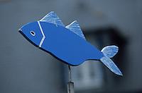 Europe/France/Bretagne/29/Finistère/Iled'Ouessant: détail girouette de maison en forme de poisson