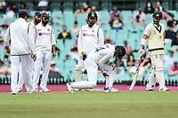 8th January 2021; Sydney Cricket Ground, Sydney, New South Wales, Australia; International Test Cricket, Third Test Day Two, Australia versus India; Hanuma Vihari of India is hit on the leg by the ball