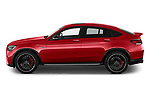 Car Driver side profile view of a 2021 Mercedes Benz GLC-Coupe AMG-GLC-63-S 5 Door SUV Side View