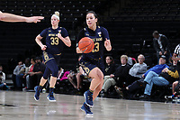 WINSTON-SALEM, NC - FEBRUARY 06: Marta Sniezek #13 of the University of Notre Dame brings the ball up the court during a game between Notre Dame and Wake Forest at Lawrence Joel Veterans Memorial Coliseum on February 06, 2020 in Winston-Salem, North Carolina.